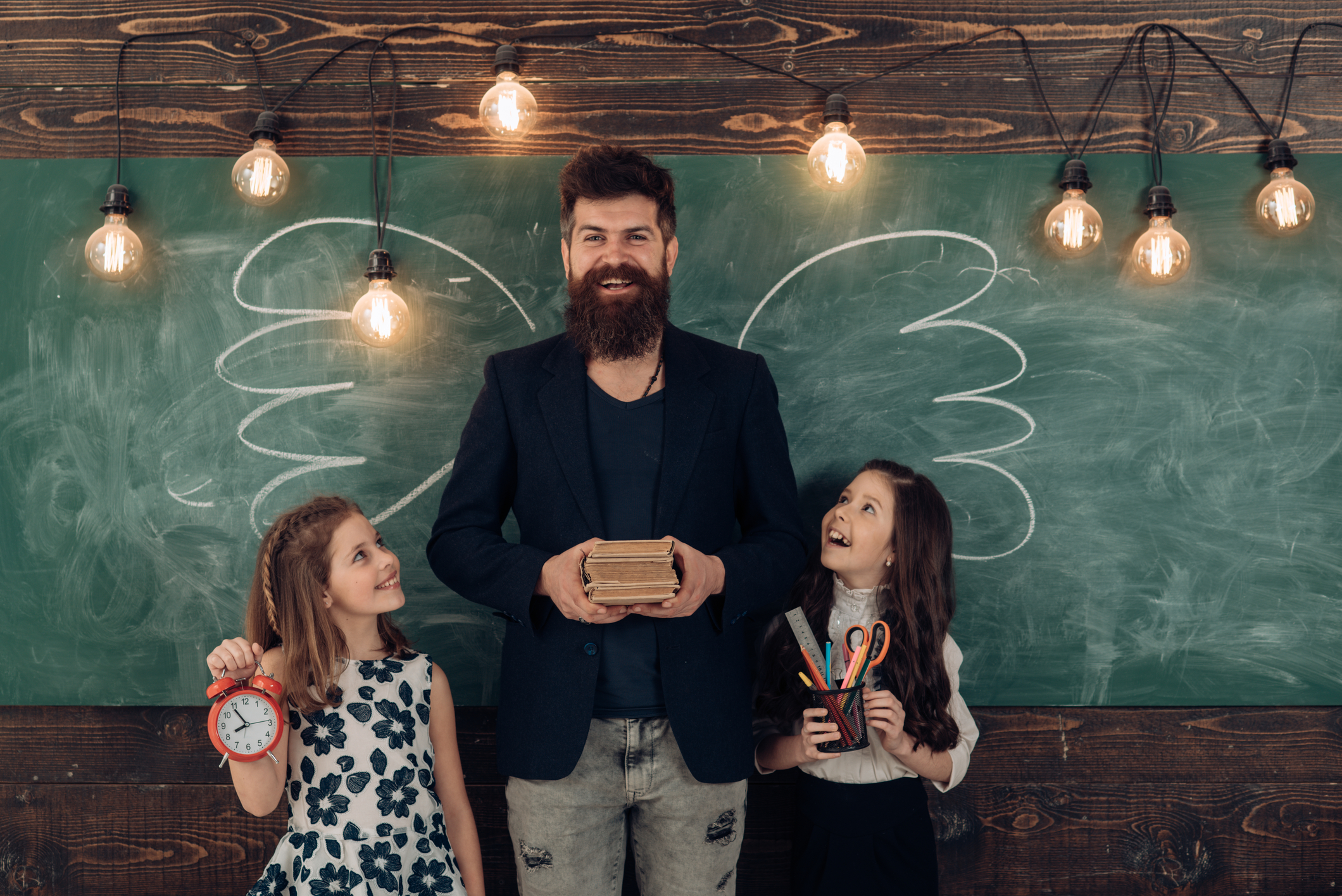 hipster and 2 kids